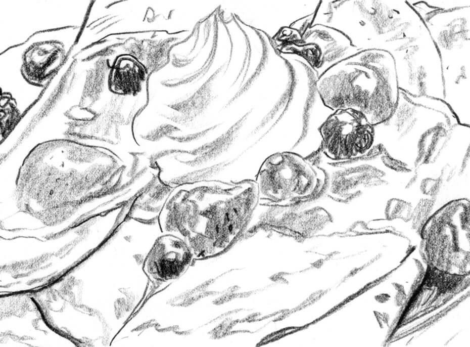 Artist: Lenin Delsol > Style: B&W Pencil > Category: Food