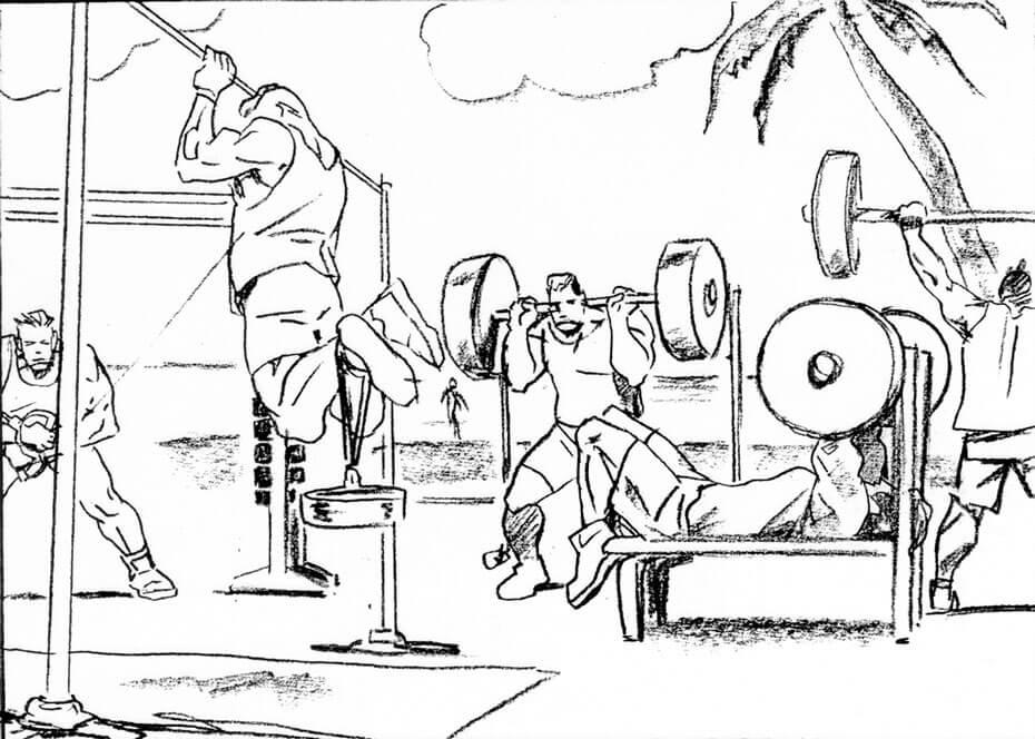 Artist: Lenin Delsol > Style: B&W Pencil > Category: Men, Fitness