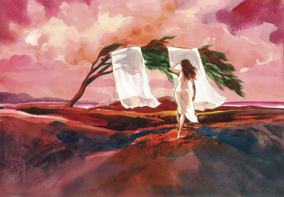 Artist: Lenin Delsol > Style: Watercolor> Category: Products, Women, Environment